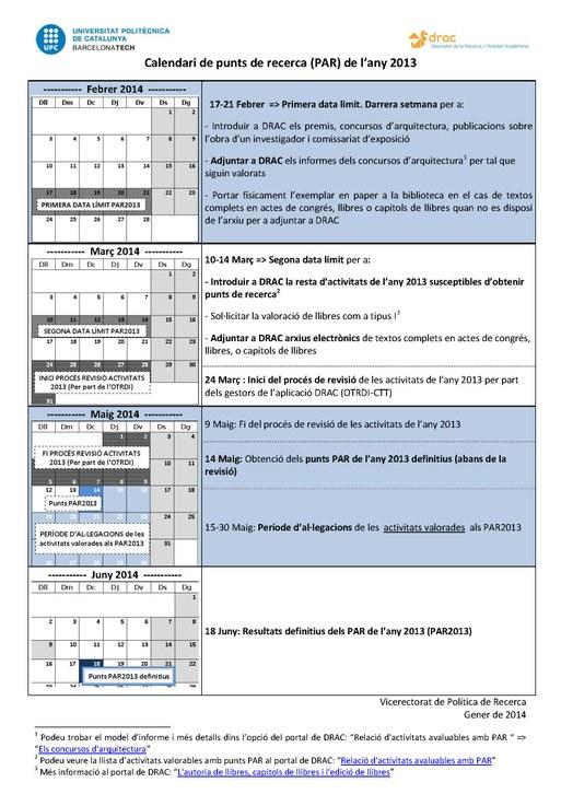 Calendari PAR 2013