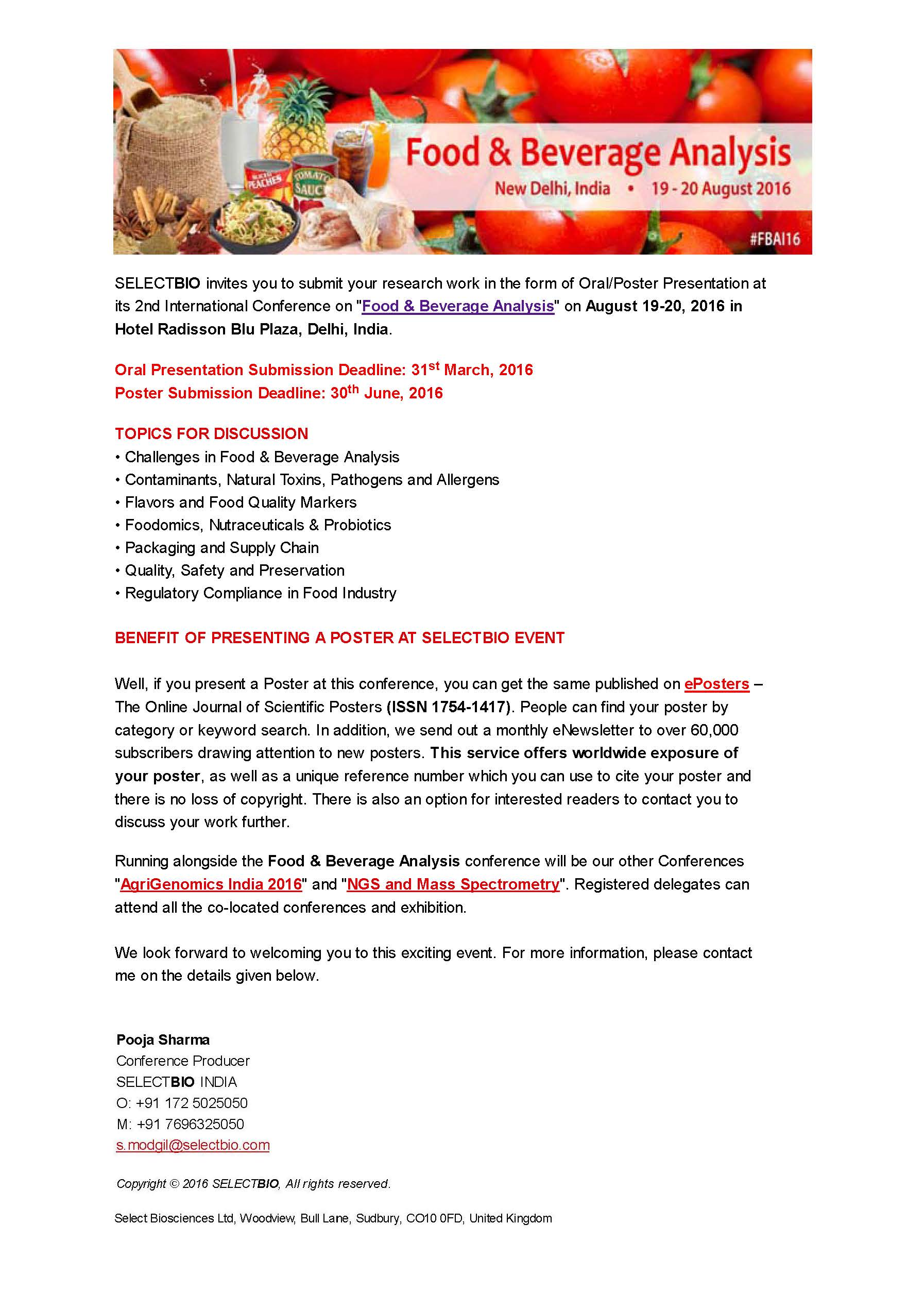 Food and Beverage Analysis